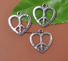 Wholesale 20pcs Tibetan Silver Heart's Peace Sign Charms Pendants 19x18MM