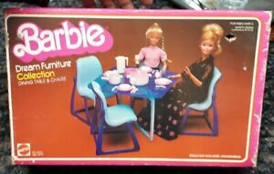 Barbie Dream Furniture Collection Dining Table & Chair Mattel 1978 New Open Box