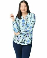 Denim & Co. Womens Watercolor Floral Stretch Crepe Blouse X-Small Blue A349965