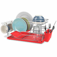Home Basics 2-Tier Steel Red Kitchen Sink Dish Drainer Drying Rack