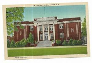 Vintage South Carolina Linen Postcard Sumter Central School