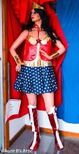 Super Hero Woman Costume 5 Pc Red White & Blue Dress Cape Crown & Cuffs 1x-2x