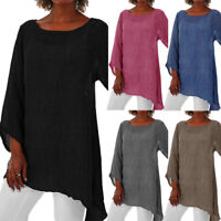 Women Irregular Long Sleeve T Shirt Crew Neck Casual Tops Loose Blouse Novelty