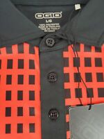 Ogio Mens Valance Polo Short Sleeve Red Black Golf Shirt Size Large NWT