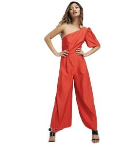 Asos Red One Shoulder Jumpsuit Size 12