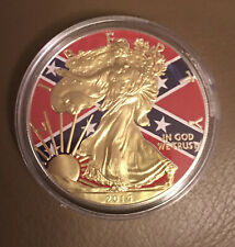 1oz Silver American Eagle USA Flag Design Coin, Colorized and Gold Gilded 2014