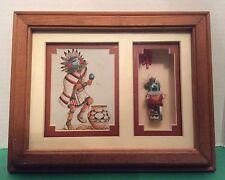 Southwest Native American Kachina Print & Doll Laverne Elliot Shadow Box Frame