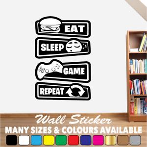 Gaming Wall Art Sticker Decal Eat Sleep Game Repeat Gamer Boys Girls Bedroom #03