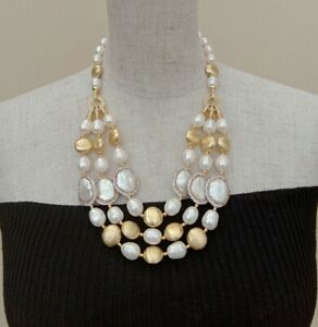 3 RowsFreshwater Cultured White Rice Pearl White Coin Pearl Necklace For Women