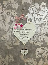 Personalised Friend Heart Shaped Plaque Birthday Christmas Gift Present