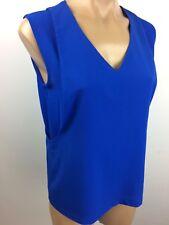Dalia Collection Layered woven Top Sleeveless ROYAL Blue Size XS