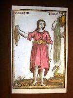Febbraio Mitologia Settecentina acquerellata a mano del 1785 Andre Declaustre