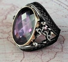 Anchor Turkish Ottoman Amethyst Gemstone Solid 925 Sterling Silver Men Ring