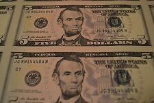UNCUT FEDERAL RESERVE $5 FIVE DOLLAR CURRENCY SHEET 32 BANK NOTES UNCIRCULATED