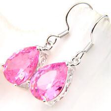 Topaz Gemstone Silver Dangle Hook Earrings Woman Royal Style Water Drop Pink