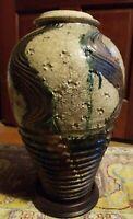 "WoW! Bruce Odell Studio Art Pottery LRG 15"" Raku Vase- Iridescent& Crackle Glaze"