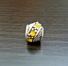 Yellow Silver CZ  Bead For European Style Charm Bracelet or Necklace