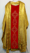 GOLD CHASUBLE & STOLE w Red, Church Clergy Priest Vestments Christmas Festive