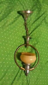 Vintage 1920's 1930's light fixture chrome & copper pendant complete old