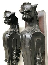 Exceptional Pair of French Cast Iron Architectural Gargoyles/Griffins