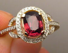 Quality Natural VVS Red Spinel and Diamond Ring 14k Yellow Gold