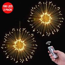 2x 180LED Firework String Fairy Lights Hanging Starburst Lamp Battery Warm White