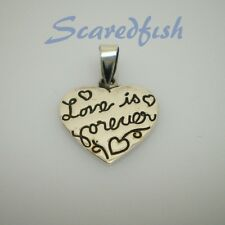 "925 Sterling Silver message pendant ""Love is Forever"" with jump ring"
