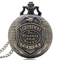 Vintage Bronze POLICE Steampunk Mens Quartz Pocket Watch Chain Xmas Retro Gift