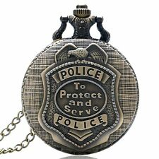 Vintage Bronze POLICE Steampunk Mens Quartz Pocket Watch Chain Xmas Retro Gift