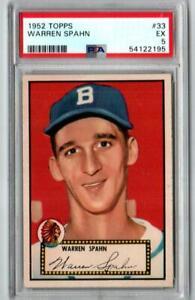 1952 Topps #33 Warren Spahn Boston Braves  PSA 5 EX