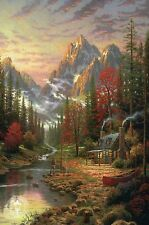 The Good Life - Mountains, Canoe, Hut, Stream - Thomas Kinkade Dealer Postcard