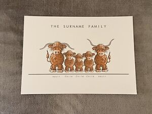 A4 Cartoon Highland Cow Family Print