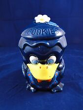 RARE Vintage Duck Cookie Jar Japan - Blue Duck With White Flower - Red Bow Tie
