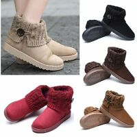 Women's Suede Knit Thicken Ankle Snow Boots Wool Short Booties Winter Warm Shoes