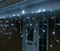 180 LED Bright White Hanging Icicle Christmas Fairy Lights Party Indoor/Outdoor
