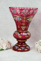 Antique MOSER Bohemia enamel ruby red glass floral VASE
