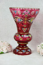 Antique MOSER Bohemia enamel ruby red glass floral VASE