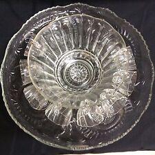 """Vintage simple elegance 8 serving fluted punch bowl set  (""""ZZ"""" N5)"""