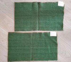 VTG MCM JACK LENOR LARSEN DORIA WOOL 2 FABRIC SAMPLES: Green: Handwoven Wool