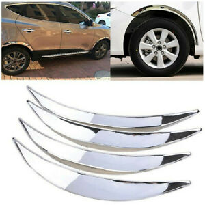 4Pcs Chrome ABS Car SUV Truck Wheel Eyebrow Arch Trim Lip Anti-scratch Stickers