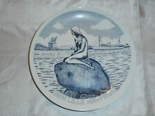 Vtg Den Lille Havfrau Copenhagen Mermaid Svane Porcelain Deco Plate