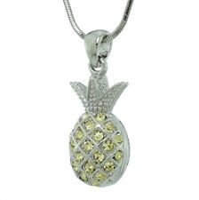 "PINEAPPLE MADE WITH SWAROVSKI CRYSTAL ANANAS TROPICAL FRUIT NECKLACE 18"" CHAIN"