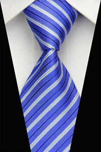 Blue Hand Woven 100% Pure Silk Neck Tie with Blue & White  Diagonal Stripes