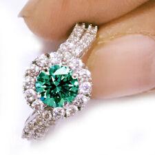 3.22 ct vvs1,GIFT BLUE WHITE MOISSANITE DIAMOND ENGAGEMENT 925 SILVER RING 7