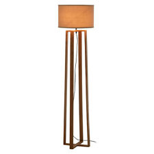 Lea Wooden Floor Standard Standing Lamp Brown Fabric Shade
