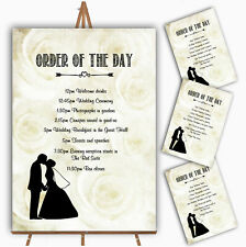 Cream Roses Chic Personalised Wedding Order Of The Day Cards & Signs