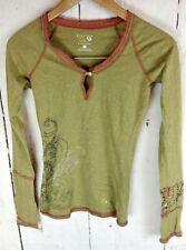 Mountain Hardwear womens XS Top Long Sleeve Green Orange Filigree Boho Yoga