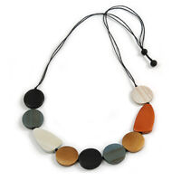 Off White/ Black/ Grey/ Brown Geometric Wood Bead Necklace with Black Cotton