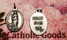 "Saint St. Agatha - Pray for Us - Antique Silver-tone  Italian OX 1"" Medal"