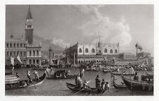 "Lovely 1800s CANALETTO Historic Engraving ""Festa della Sensa"" SIGNED Framed COA"